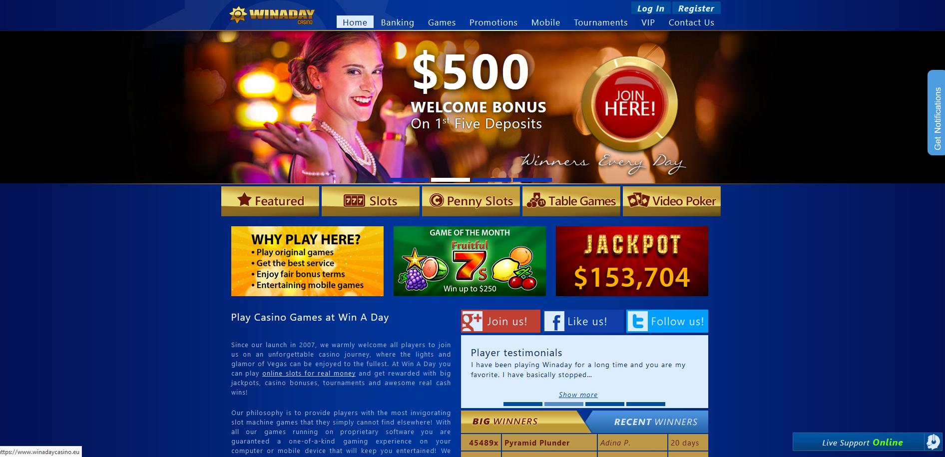Winaday Casino Screenshot