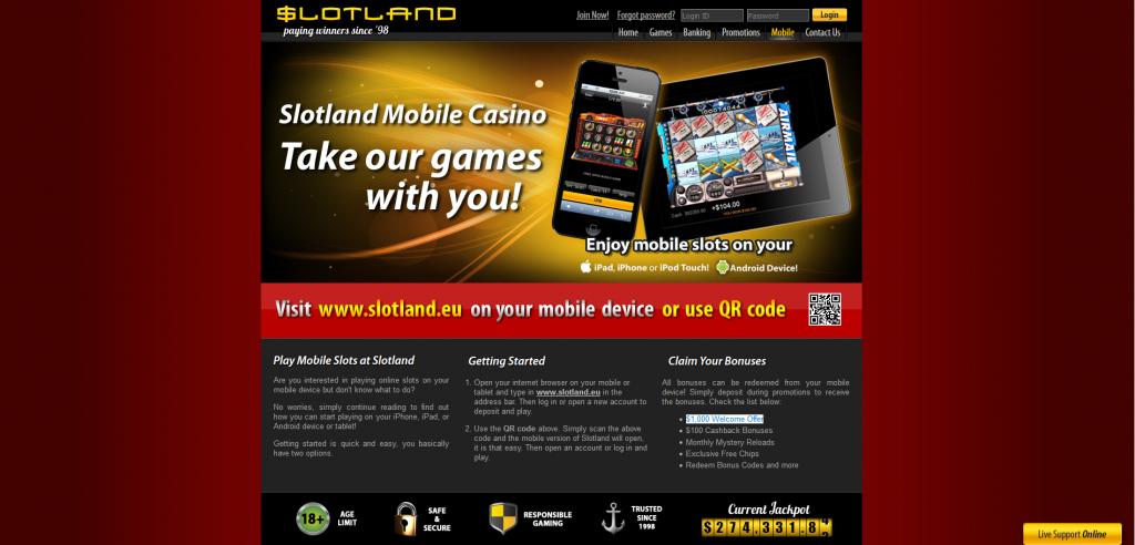 Slotland Mobile Screenshot