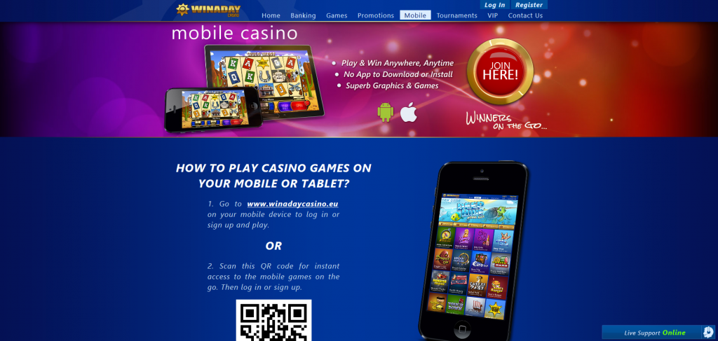 Winaday Mobile Casino Screenshot