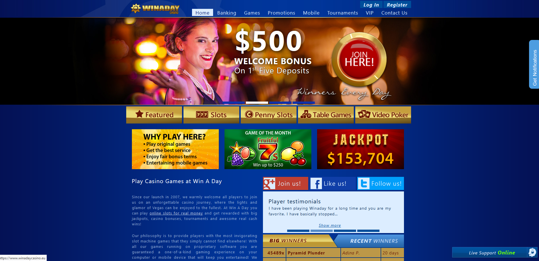 Winaday Casino Screenshot
